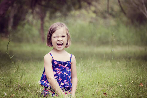 Portrait of screaming little girl on a glade - XCF00253