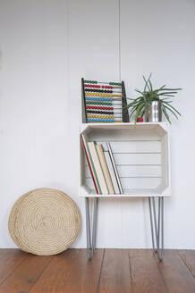 Upcycled fruitcrate used as bookshelf - GISF00469