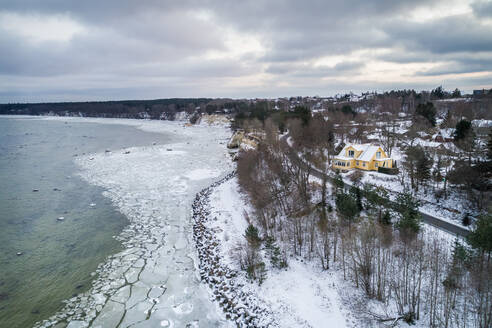 Aerial view of frozen sea in Tallinn bay coast Estonia - AAEF04043
