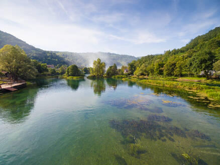 Aerial view of man and woman on walking path by Una river, Bosnia and Herzegovina - AAEF04160