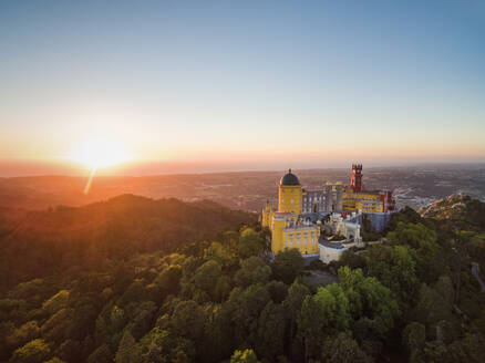 Aerial view of park and National palace of Pena, Portugal - AAEF04172