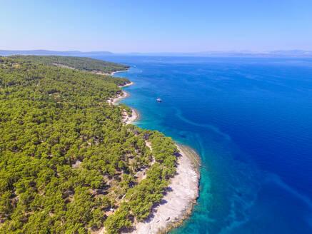 Aerial view of Sutivan coast on the island of Brac, Croatia - AAEF04274