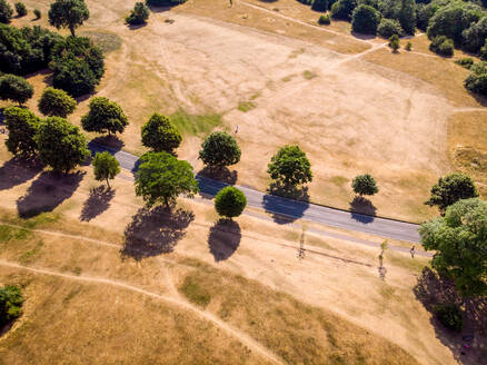 Aerial view of an indian summer shows the effects of climate change as a usually green park is transformed to straw-coloured land, following a long lack of rain, Bristol, United Kingdom - AAEF04352