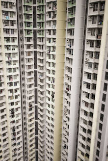 Aerial close up view of residential tower blocks in Hong Kong, China. - AAEF04457
