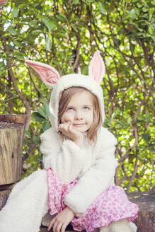 Portrait of little girl wearing Easter bunny costume - XCF00274
