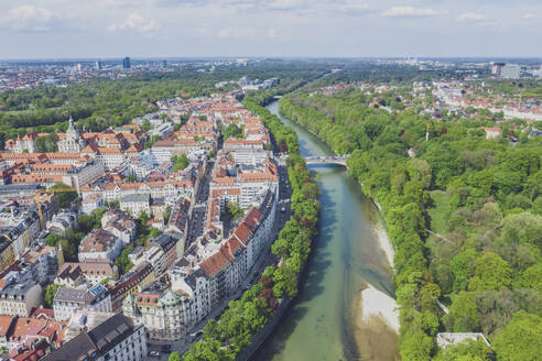 Germany, Bavaria, Munich, Aerial view of Isar river and old town of Munich in summer - MMAF01169