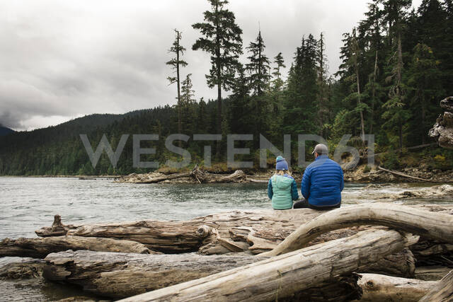 Calm Moment of Man and Child Sitting on Logs near a Lake - CAVF65033 - Cavan Images/Westend61