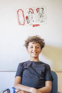 Portrait of smiling boy sitting in front of drawing on a whiteboard - DLTSF00221