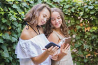 Young girls using smartphone on ivy background - DLTSF00242