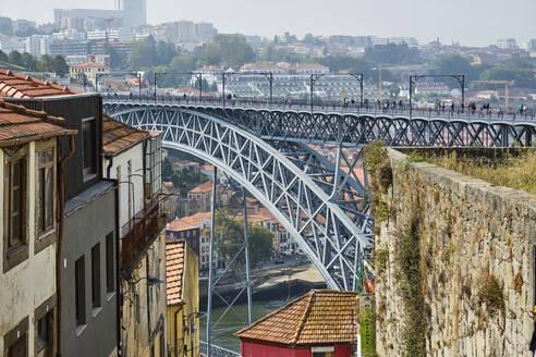 Portugal, Porto, Douro, Dom Luis I bridge seen during day - MRF02224