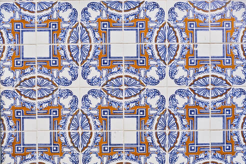 Portugal, Lisbon, Alfama, ceramic tiles Azulejos on wall - MRF02263