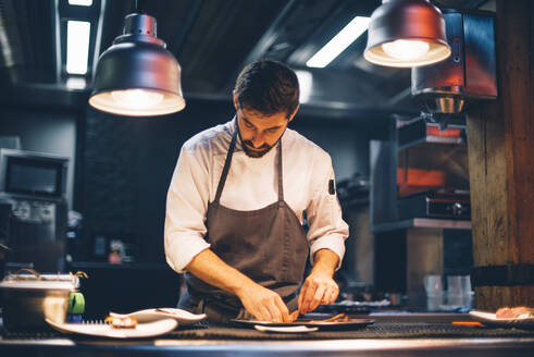 Chef serving food on plates in the kitchen of a restaurant - CJMF00110