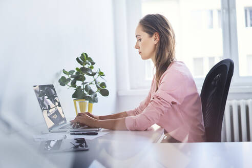 Focused young businesswoman working on laptop in home office - BSZF01520