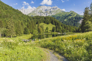Austria, Carinthia, Scenic view of lake in forested valley of Carnic Alps in summer - AIF00687