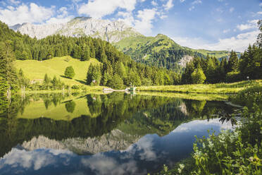 Austria, Carinthia, Scenic view of shiny lake in Carnic Alps - AIF00690