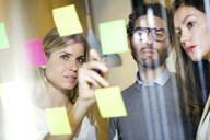Three business people brainstorming together with sticky notes on a glass wall - JSRF00687