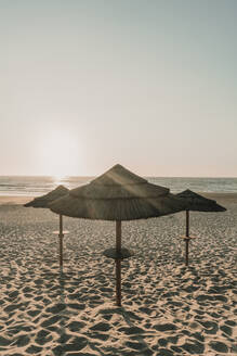 View of straw beach umbrellas at sunset, Costa Nova, Portugal - AHSF00921