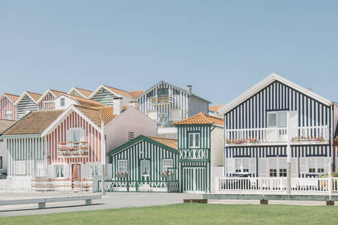 View of striped houses, Costa Nova, Portugal - AHSF00957