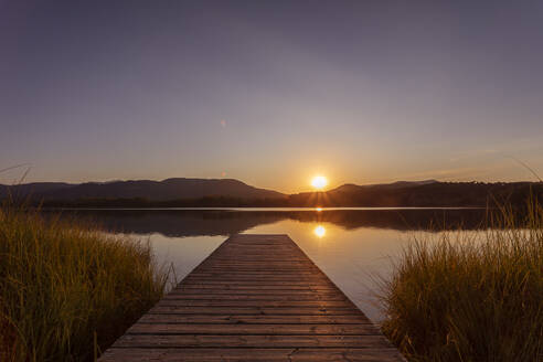 Lake Estany de Banyoles in the evening, Gerona, Spain - MOSF00106