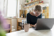Laughing woman using laptop in the kitchen - KNSF06851
