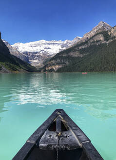 Canoeing on Lake Louise in Alberta,Canada from paddler's point of view - CAVF65684