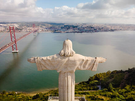 Aerial view of Cristo Rei statue, Lisbon, Portugal - AAEF04634