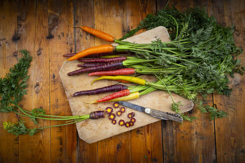 Penknife and fresh colorful carrots lying on cutting board - LVF08370