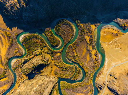 Aerial view of Chuya river crossing landscape, Russia. - AAEF04858