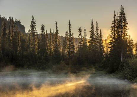 Morning sunlight and mist, Reflection Lake, Mount Rainier National Park, Washington State, United States of America, North America - RHPLF12465