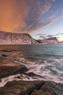A dramatic sunset at Haukland Beach, Lofoten, Nordland, Arctic, Norway, Europe - RHPLF12606