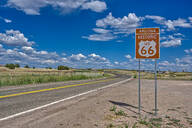 A road sign marking the Historic Route 66 just west of Ash Fork, Arizona, United States of America, North America - RHPLF12615