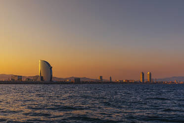 Panoramic view of the city Barcelona at sunset, Spain - MOSF00111