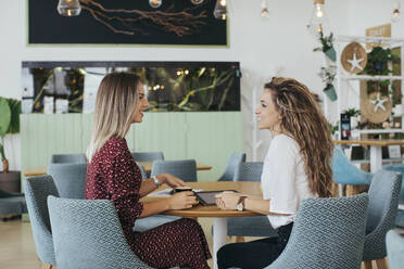 Friends having a coffee and talking in a cafe - MOMF00778