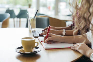 Businesswomen in a cafe, using laptop and writing in notebook - MOMF00784