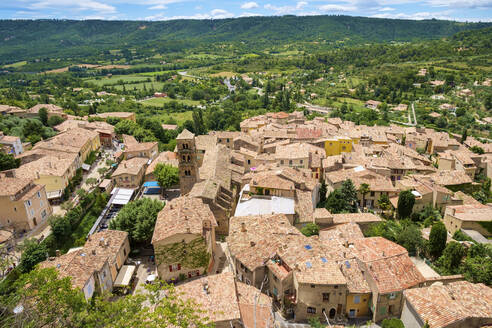 High angle view of town of Moustiers-Sainte-Marie - CAVF66378