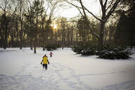 Siblings playing on snow covered field in forest - CAVF66471