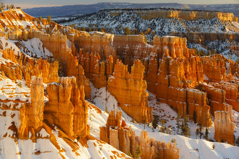 High angle scenic view of snow covered rock formations at Bryce Canyon National Park - CAVF67874