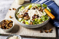 Caeasar Salad with romaine lettuce, parmesan cheese, bacon, chicken breast, croutons - SBDF04081
