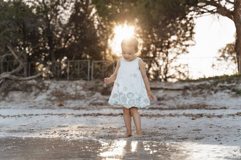 Cute toddler girl standing on the beach at sunset - DIGF08796