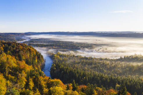 Germany, Bavaria, Upper Bavaria, Nature Reserve Isarauen, Aerial view of Loisach and Isar rivers at sunrise - SIEF09259