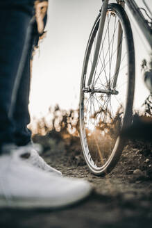 Close up of a bicycle tire outdoors - MKF00002