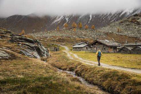 Hiker walking through alpine plateau in autumn, Sondrio, Italy - MCVF00062