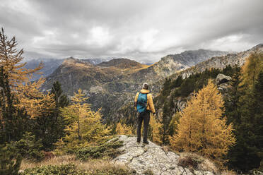 Hiker standing and looking over alpine plateau in autumn, Sondrio, Italy - MCVF00071