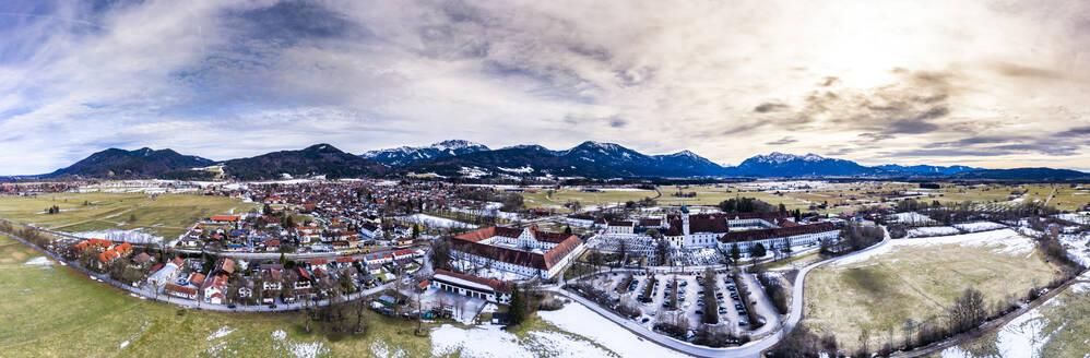 Aerial panoramic view over Benedictine monastery Benediktbeuren in winter, Bavaria, Germany - AMF07437