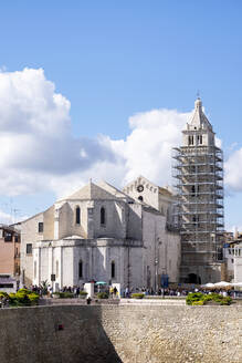 Italy, Apulia, Barletta, Cathedral of Santa Maria Maggiore with bell tower under renovation - HLF01191