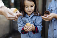 Mother with two kids holding chicks on an organic farm - SODF00295