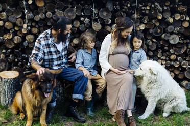 Family with two dogs relaxing at stack of wood - SODF00316