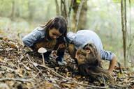 Two kids examining mushroom in the forest - SODF00322