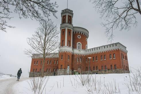 Old watchtower in winter, Stockholm, Sweden - RUNF03389