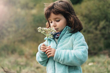 Portrait of little girl with wildflower in autumn - GEMF03277